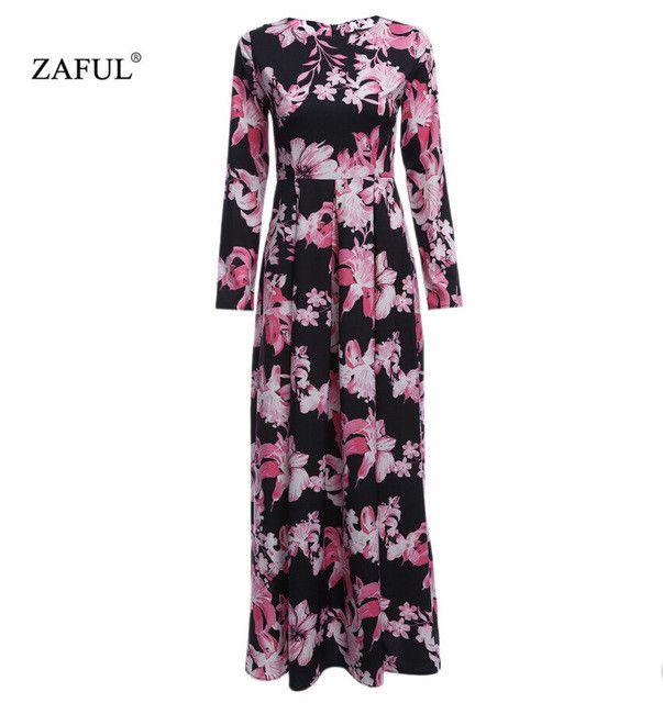 ZAFUL New Women Long Autumn Dress Retro Floral Print Vintage Dress long Sleeve Floor-Length Female Party Maxi Dress Vestidos