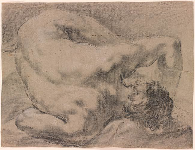 Giovanni Lanfranco | Study for a Fallen Angel. Verso: sketch of a reclining nude male | Drawings Online | The Morgan Library & Museum