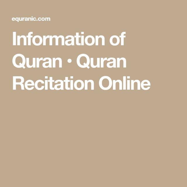 Information of Quran • Quran Recitation Online