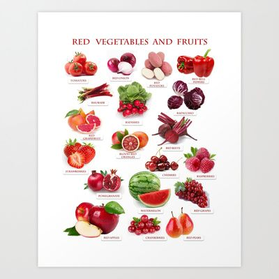 Red Fruits and Vegetables Art Print by Gabriela Tardea - $17.56