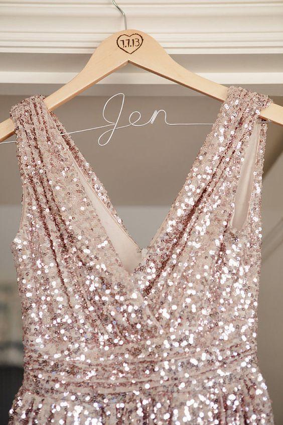 Pink sequinned v neck, sleeveless, backless dress by TheodoraJames via etsy. #bridesmaiddress