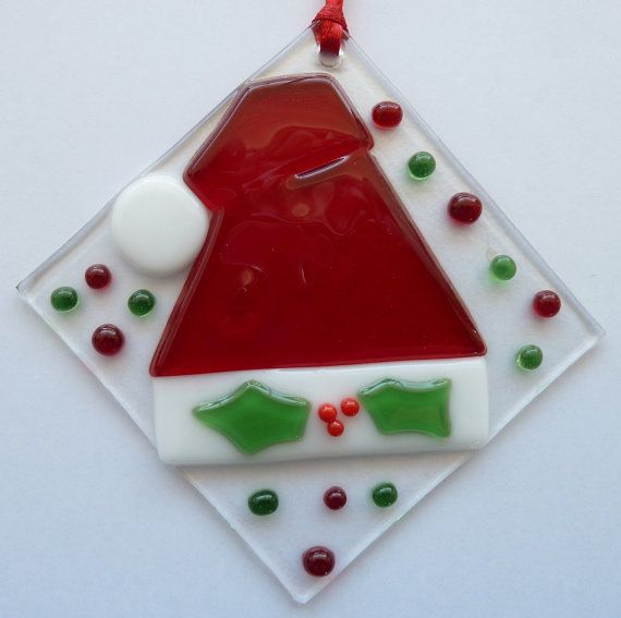 Fused Glass Suncatcher Santa Hat Christmas by LaDeansDesigns, $13.00