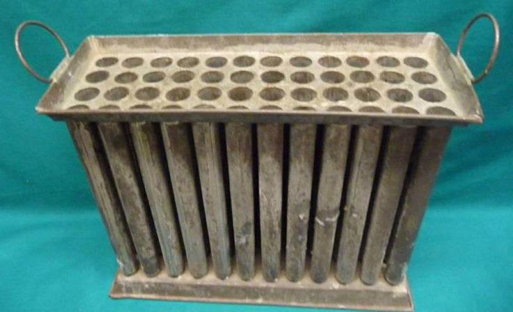 early tin candle mold ~ unusual large size