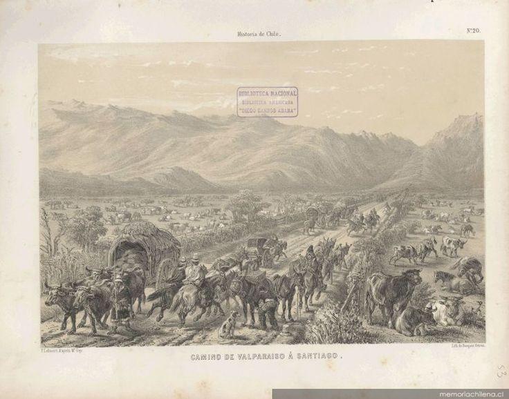 Lámina:  Camino de Valparaíso a Santiago,    Siglo XIX,      Autor:   Claudio Gay                 Fuente:  Memoria Chilena