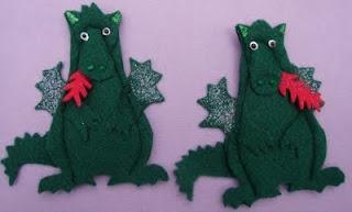 DIY felt dragon finger puppets