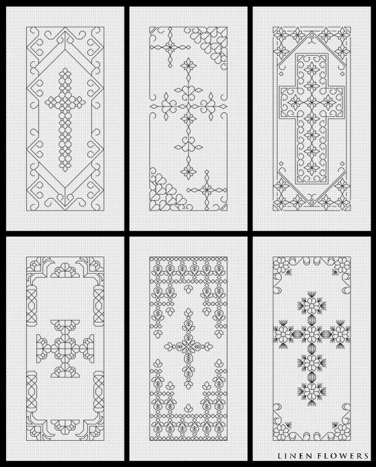 Blackwork Crosses 2 - would make pretty bookmarks