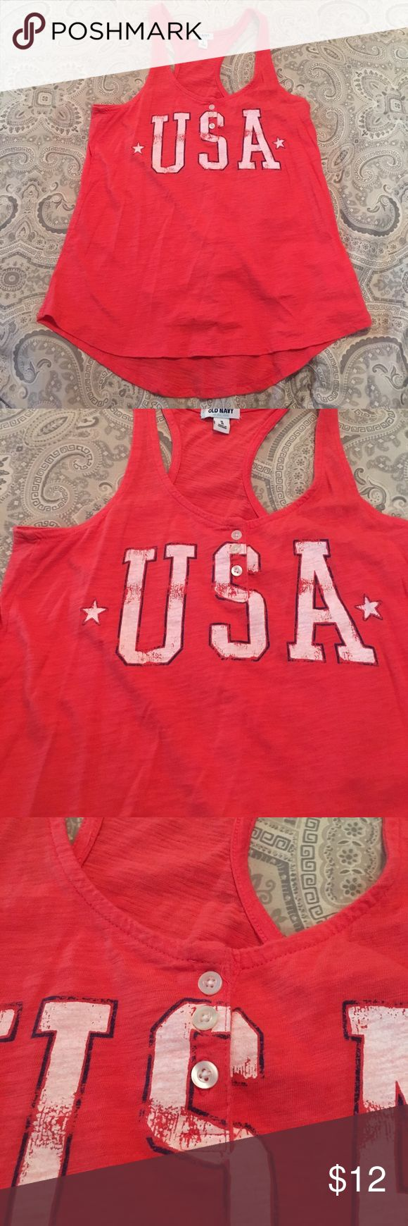 Old Navy USA muscle tee Coral colored. Never worn. In great condition. Distressed look on the printed USA. Three buttons on neck Old Navy Tops Muscle Tees