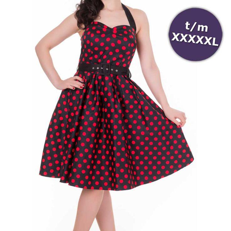 Sophie swing jurk met halternek, polkadot stippen print en zwarte riem zwart/rood - Vintage 50's Rockabilly re