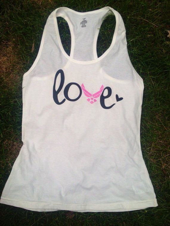 Air Force Love Racerback Tank Top USAF girlfriend wife fiancé on Etsy, $20.00