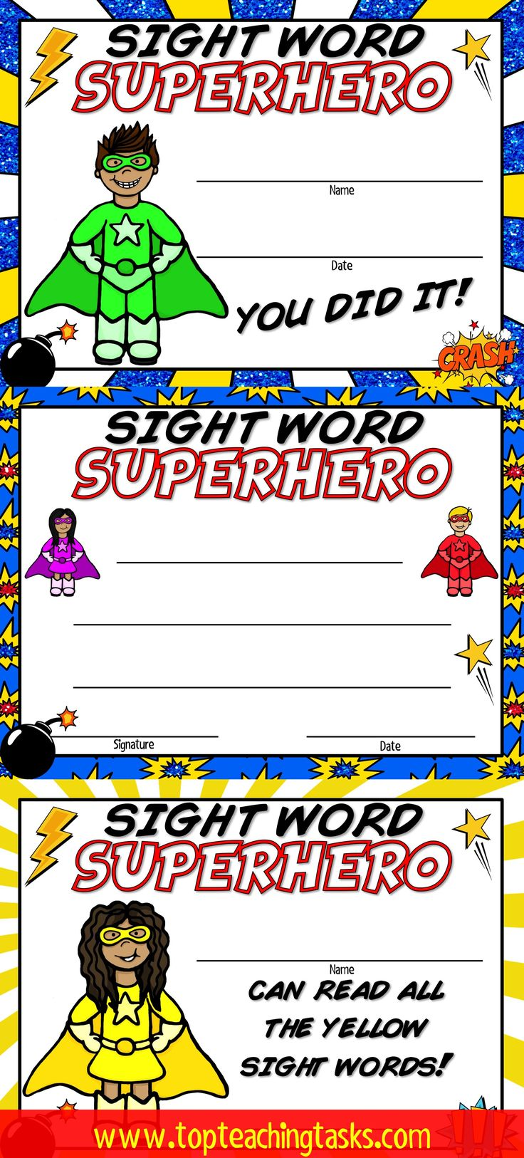 These sight word certificates are a great way to celebrate sight word reading fluency success! Perfect for the New Zealand classroom New Entrants and Year One! Magenta, Red, Yellow, Blue and Green levels of the colour wheel.