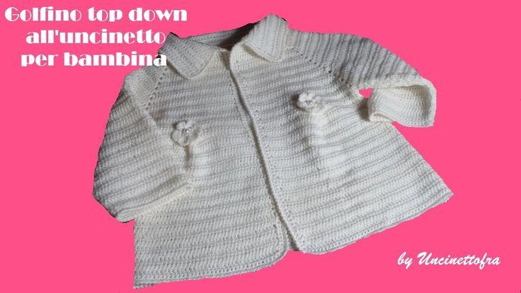 Golfino top down all'uncinetto per bambina (parte 2/3)