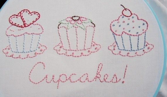 Cupcake Embroidery Pattern Hand Embroidery Cupcakes Pattern