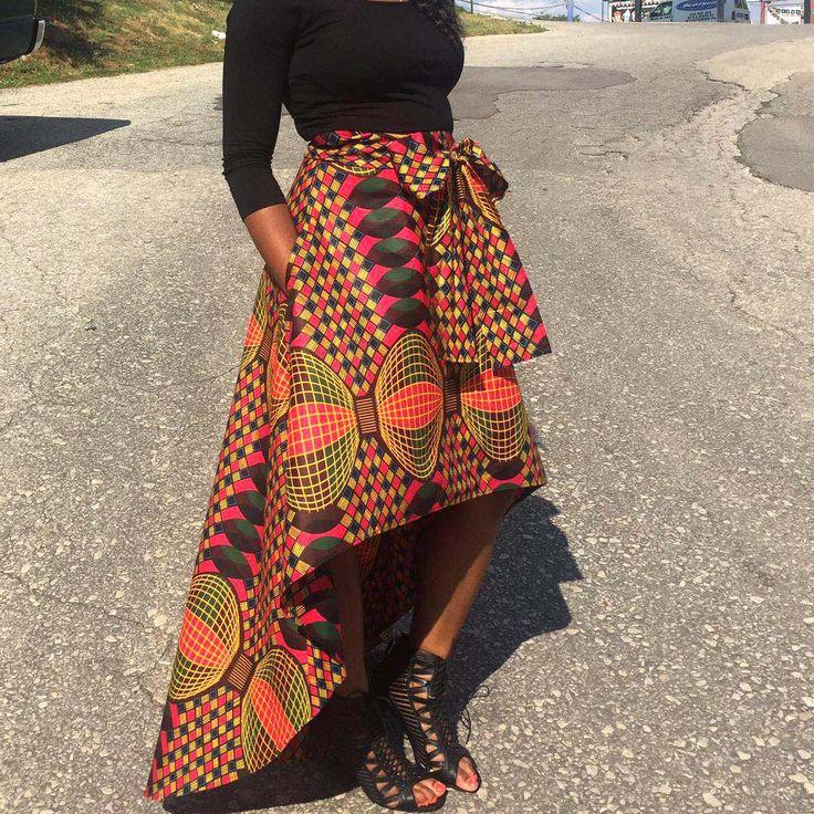 Lola African Print Highlow Skirt (kaleidoscope)