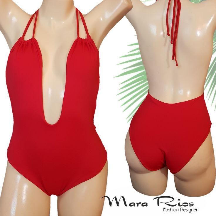 Traje de baño espalda descubierta, escote delantero, traje de baño rojo, swimwear red, body
