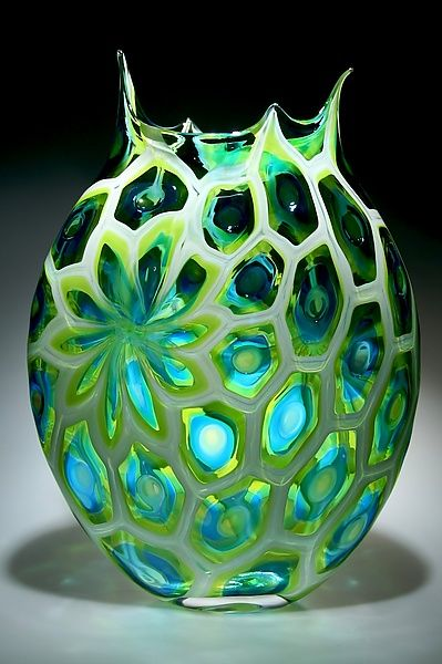 "Uranium, Lime, & Aqua Foglio created #artist by David Patchen. This blown glass vessel from Patchen's ""Foglio"" series is created with the difficult murrini technique. @Artful Home"