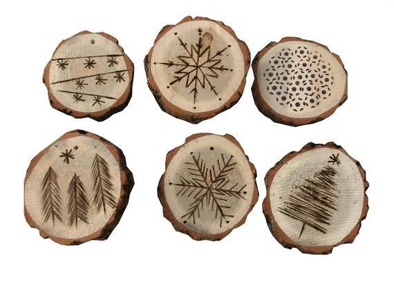 Tranche De Bois Bois Brule Ornements De Vacances Wood Slices