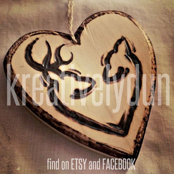 Wood Burned Ornament, Browning Logo, Love.