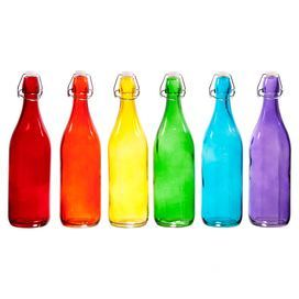 Set of six swing-top glass bottles