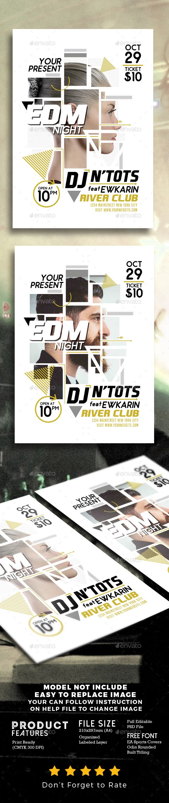 EDM Night Party Flyer Template PSD