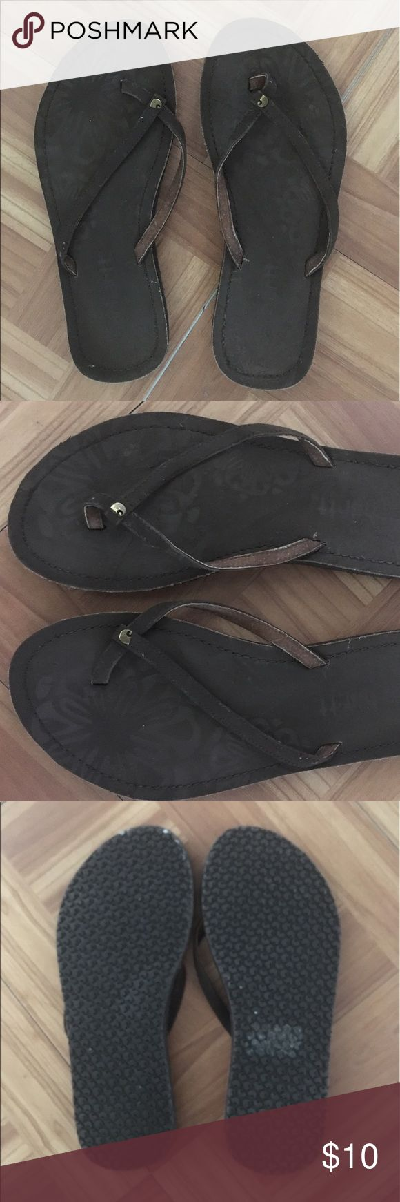 Carhartt Brown Leather Flip-Flop Sandals (8) Carhartt Dark Brown Leather Flip-Flop Sandals (Size 8). Slip Free Soles. *Never Worn!! Carhartt Shoes Sandals