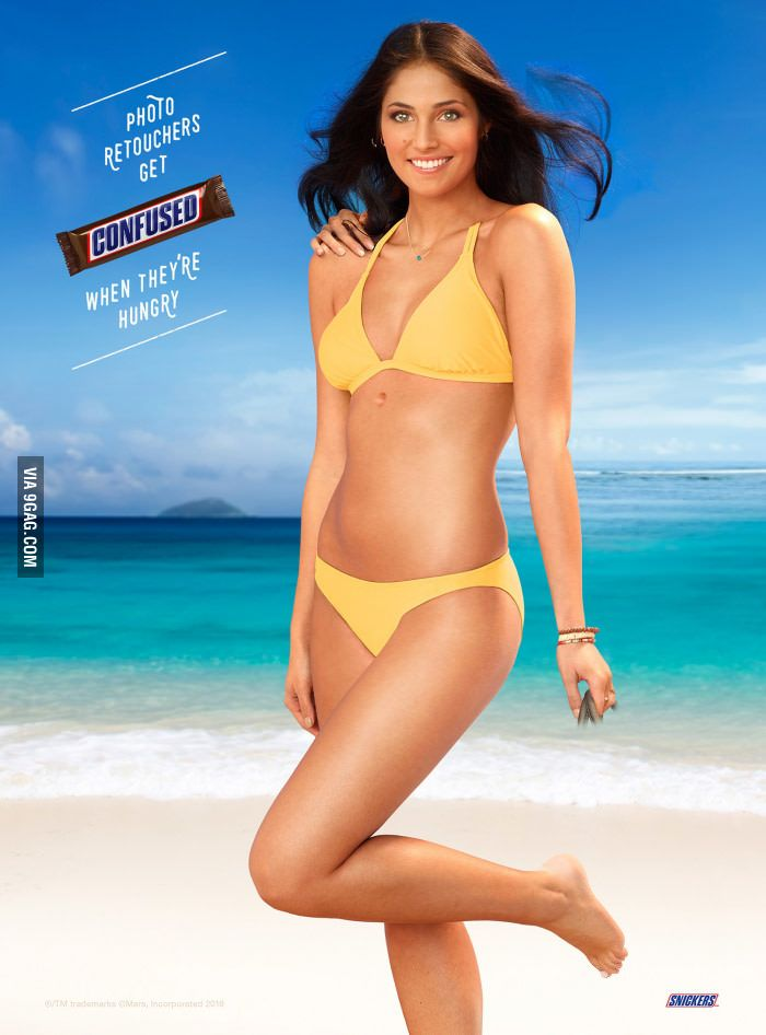 Snickers ad in Sports Illustrated Swimsuit Issue has 11 Photoshop mistakes - 9GAG