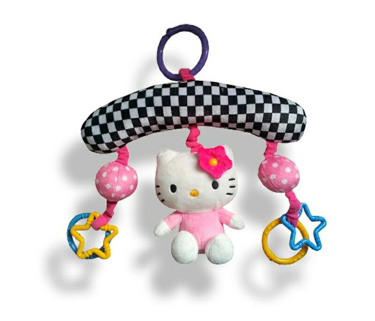Mini movil hello kitty, con figuras cascabeles y kitty