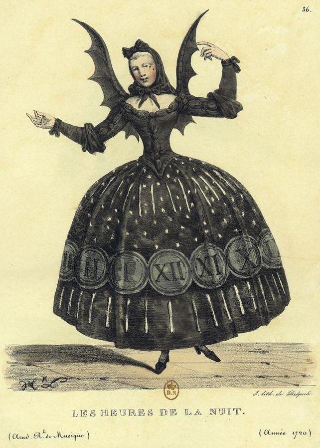 """Costume """"Les heures de la nuit""""   --- Hippolyte Lecomte (1781-1857) est un peintre français connu pour ces oeuvres historiques et ses paysages. Il dessina également des costumes pour l'Opéra et l'Académie royale de musique"""
