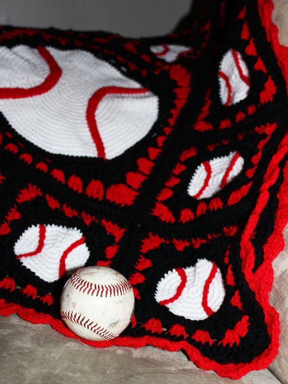 Grand Slam Baseball Afghan Crochet Pattern by MetalYarnYak on Etsy, $6.00