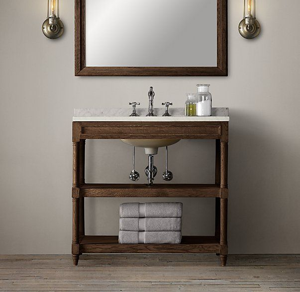 RHu0027s Weathered Oak Single Washstand:Rustic Yet Refined, Our Solid Oak  Washstand Features Open Shelving That Offers Streamlined Storage In The Bath .