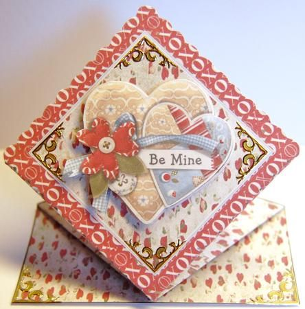 Diamond top Be mine on Craftsuprint designed by Jolanta Januszewska - made by Jane Wells - I printed this design onto white card and folded the diamond shape following the very easy instructions. I popped the cut out image on uisng 3d foam pads and added gold peel off corners to highlight. A very pretty card for a very special day! - Now available for download!