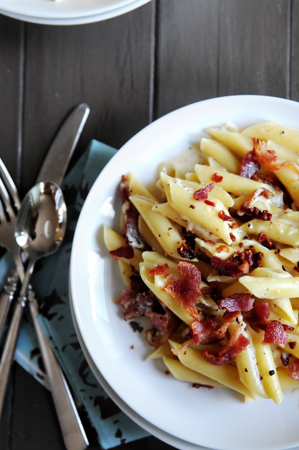 Bacon and Parmesan Pasta- Easy and so delicious! I added spinach and that added some flavor to the meal.