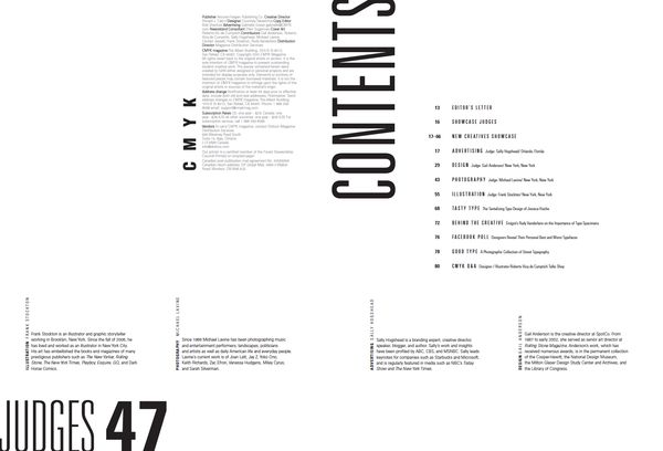 CMYK Magazine :: table.of.contents by Tina Kyusun Lee, via Behance