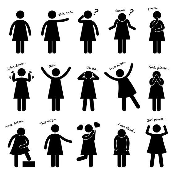 Woman Girl Female Lady Person Basic Body Language Posture Poses Action Movement Feeling Emotion Expression Stick Figure Icons Png Svg Vector Stick Figures Pictogram Body Language