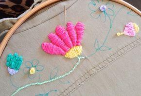 Tutorial: Bordado mexicano con lana en la ropa (Y diseño para ...