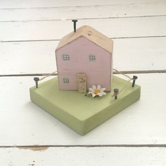 Pink Ornamental House Wooden House Decoration Little by SCWVintage