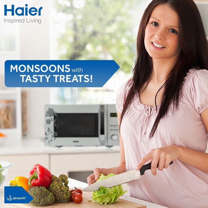 Enjoy #monsoons munching away tasty eat treats. #Haier's #microwaves allow you to enjoy a variety of snacks with its range of cooking functions.