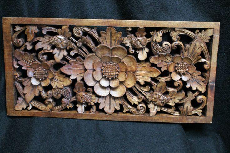 Balinese Lotus Architectural Panel Carved Mahogany Wood