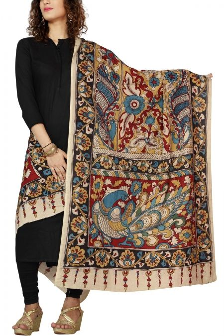 Illustrative Black Mayur Kalamkari Cotton Dupatta