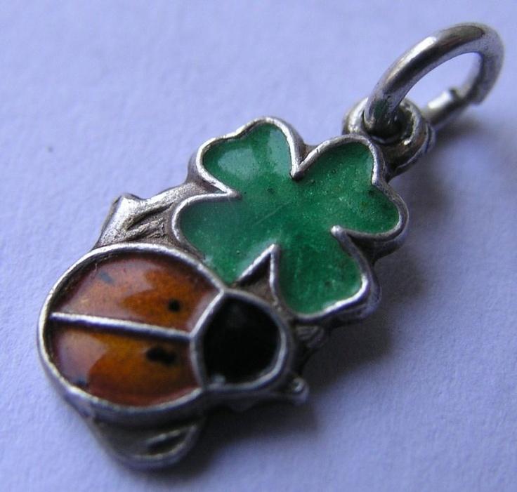 VINTAGE GERMAN SILVER & ENAMEL 'LUCKY' LADYBUG ON CLOVER CHARMLuck Jewelry, German Silver, Lucky Charms, Charms Bracelets, Silver Enamels, Clovers Charms, Vintagee Antiques Luck, Clovers Items, Enamels Lucky
