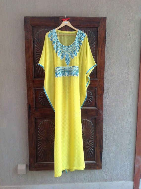 Kaftan chiffon long yellow sheer caftan dress by ArabianThreads