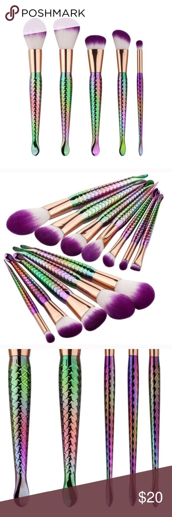 🐬Mermaid Makeup Brushes✨ Embrace your inner mermaid with these five unique stylish makeup brushes! Complete with shiny rainbow scaled tails with cute little ends and purple tipped hair, these brushes are sure to be the perfect mystical touch to any girl's makeup collection ✨🐠   Tags: follow game share group gothic boho Kylie Jenner yeezy supreme Makeup Brushes & Tools