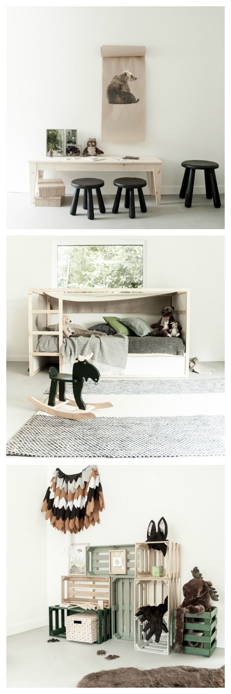 A kids room inspired by the forest - love the natural wood and the green tones