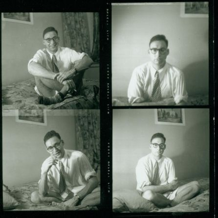 Carl Solomon in his Prince Street apartment several years after residence with me on sixth floor ward, New York State Psychiatric Institute, afterwards working mid-town at his uncle's Ace Books Publishers, where he edited Wm. S. Burroughs' Junkie paperback first edition.  New York, 1953.  (Ginsberg Caption) c. Allen Ginsberg Estate.