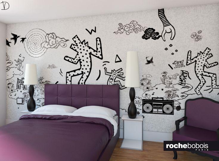Camera da letto con carta da parati di keith haring for Carta da parete per camera da letto