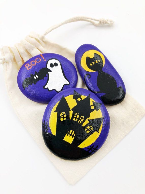House On The Rock Halloween 2020 Halloween Painted Rock Trio, Halloween Stones Set, Halloween