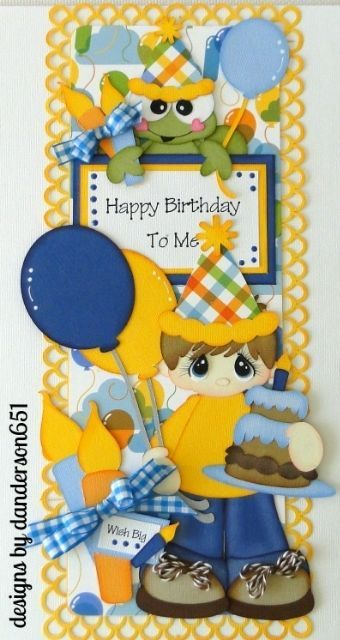 Vertical Border Happy Birthday Boy PreMade Paper Piecing Album Scrapbook Border