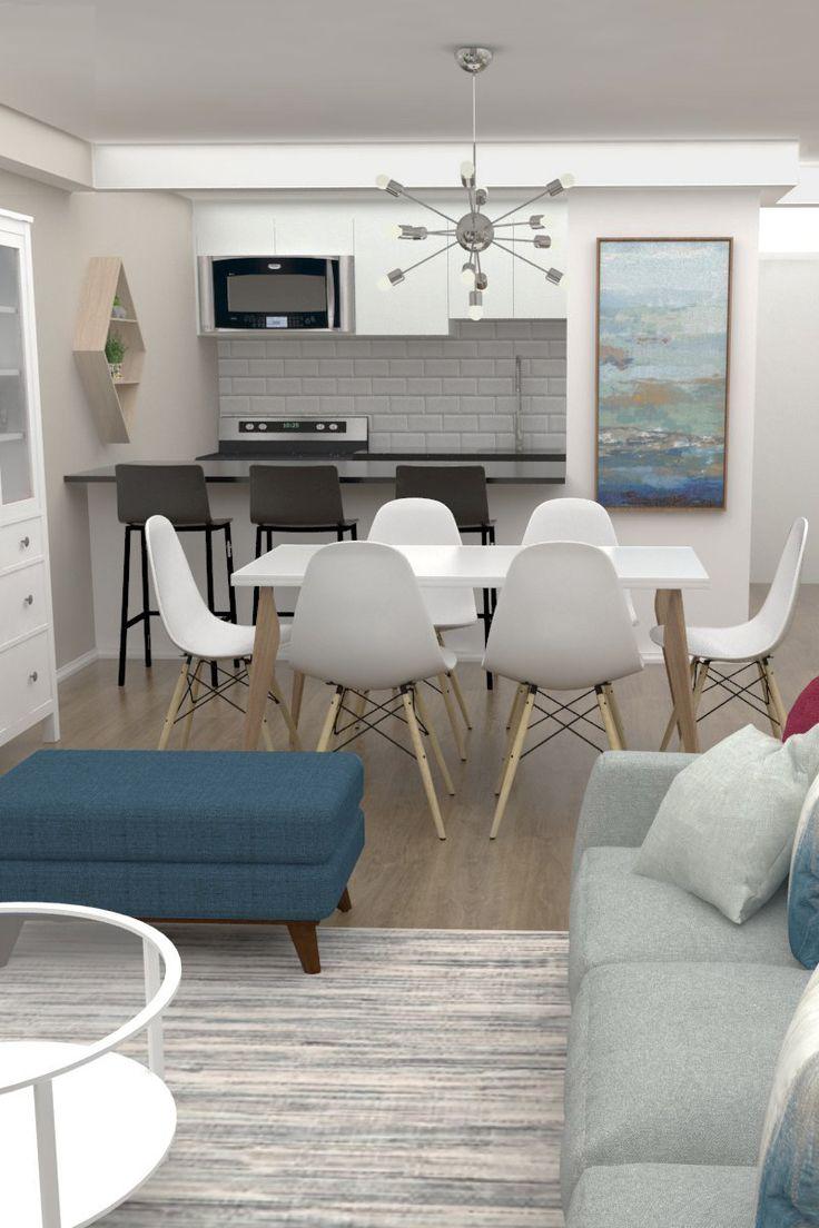 Pequena sala de estar com cozinha e mesa de jantar integradas. Decoração do quarto   – Sala de jantar