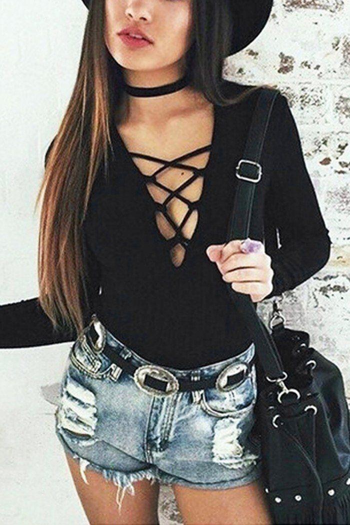Black Lace Up Bodysuit In Knit - US$9.95 -YOINS