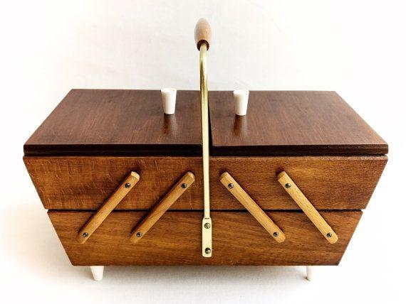 Wooden Sewing Box German Vintage Wood Box Knitting by Lunartics