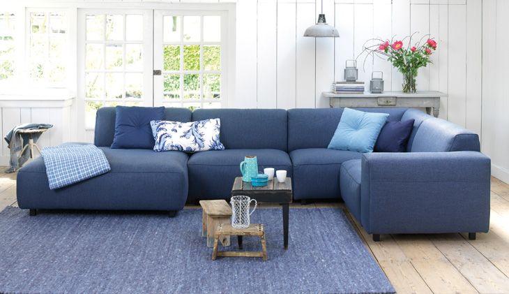 Inspiratie woonkamer blauwe hoekbank #homecenterwolvega